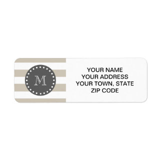 Beige White Stripes Pattern, Charcoal Monogram Label
