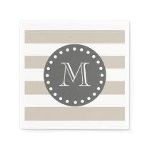Beige White Stripes Pattern, Charcoal Monogram Napkin