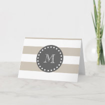 Beige White Stripes Pattern, Charcoal Monogram Note Card