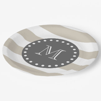 Beige White Stripes Pattern, Charcoal Monogram Paper Plate