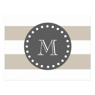 Beige White Stripes Pattern, Charcoal Monogram Postcard