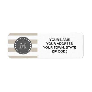 Beige White Stripes Pattern, Charcoal Monogram Return Address Label