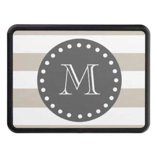 Beige White Stripes Pattern, Charcoal Monogram Tow Hitch Cover