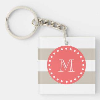 Beige White Stripes Pattern, Coral Monogram Keychain