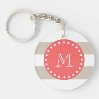 Beige White Stripes Pattern, Coral Monogram Keychain