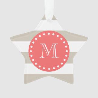 Beige White Stripes Pattern, Coral Monogram Ornament