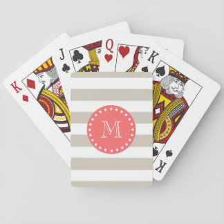 Beige White Stripes Pattern, Coral Monogram Playing Cards