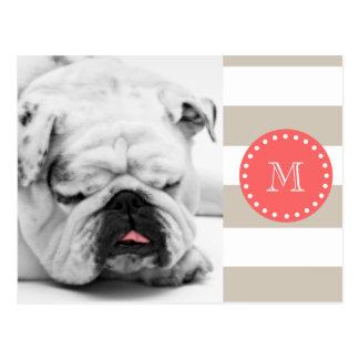 Beige White Stripes Pattern, Coral Monogram Postcard