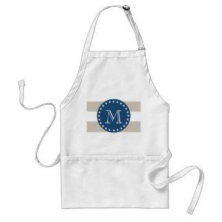 Beige White Stripes Pattern, Navy Blue Monogram Adult Apron