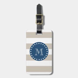 Beige White Stripes Pattern, Navy Blue Monogram Bag Tag