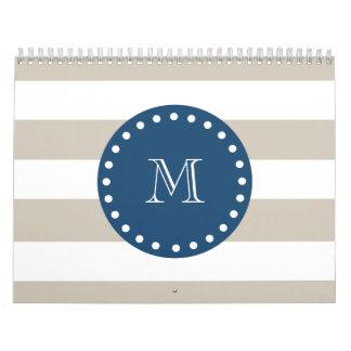 Beige White Stripes Pattern, Navy Blue Monogram Wall Calendars