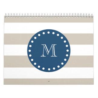 Beige White Stripes Pattern, Navy Blue Monogram Calendar