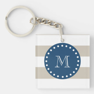 Beige White Stripes Pattern, Navy Blue Monogram Keychain