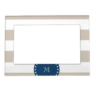 Beige White Stripes Pattern, Navy Blue Monogram Magnetic Frame