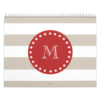 Beige White Stripes Pattern, Red Monogram Calendar