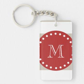 Beige White Stripes Pattern, Red Monogram Keychain