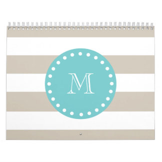 Beige White Stripes Pattern, Teal Monogram Calendar