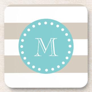 Beige White Stripes Pattern, Teal Monogram Coaster
