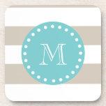 Beige White Stripes Pattern, Teal Monogram Beverage Coasters