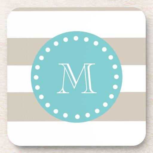 Beige White Stripes Pattern, Teal Monogram Drink Coaster