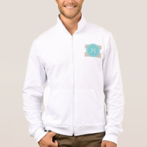 Beige White Stripes Pattern, Teal Monogram Jacket