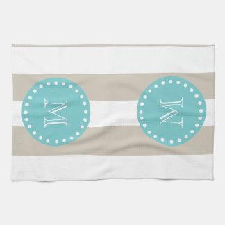Beige White Stripes Pattern, Teal Monogram Towel