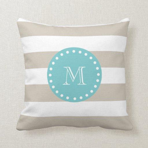 Beige White Stripes Pattern, Teal Monogram Pillow