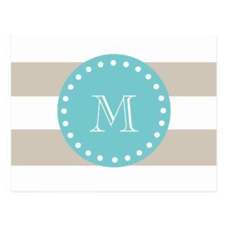 Beige White Stripes Pattern, Teal Monogram Postcard