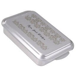 BEIGE WHITE VINTAGE DAMASK PATTERN 2 CAKE PAN
