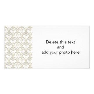 BEIGE WHITE VINTAGE DAMASK PATTERN 2 PHOTO CARD