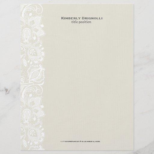 Beige & White Vintage Floral Lace 2 Letterhead