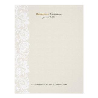 Beige & White Vintage Floral Lace Letterhead