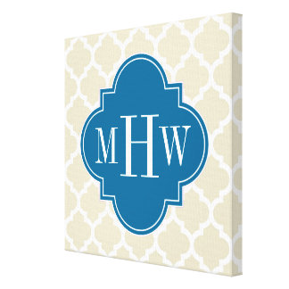 Beige Wht Moroccan #5 Peacock 3 Initial Monogram Gallery Wrapped Canvas
