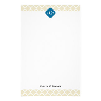Beige Wht Moroccan #5 Peacock 3 Initial Monogram Stationery