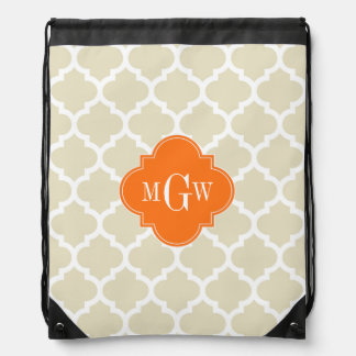 Beige, Wht Moroccan #5 Pumpkin 3 Initial Monogram Drawstring Bag