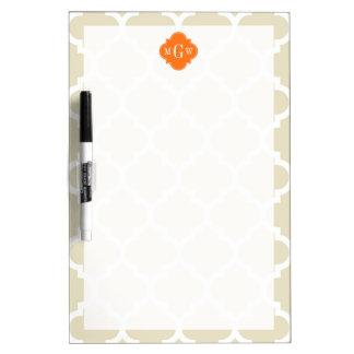 Beige, Wht Moroccan #5 Pumpkin 3 Initial Monogram Dry Erase Whiteboards