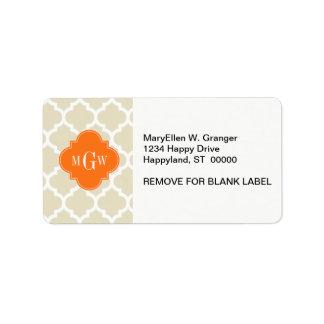 Beige, Wht Moroccan #5 Pumpkin 3 Initial Monogram Custom Address Labels