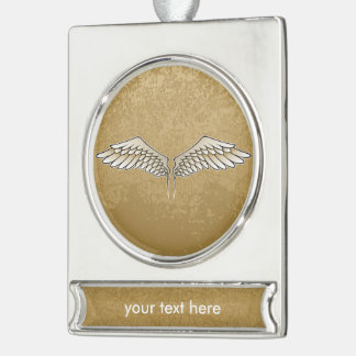 Beige wings silver plated banner ornament