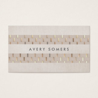 Beige with Gold Pattern Striped Faux Linen Business Card