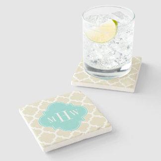 Beige, Wt Moroccan #5 Turquoise 3 Initial Monogram Stone Beverage Coaster
