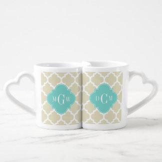 Beige, Wt Moroccan #5 Turquoise 3 Initial Monogram Couples' Coffee Mug Set