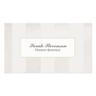 Beige y blanco raya el boutique monocromático tarjetas de visita