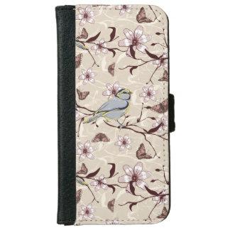 Beige y flores y mariposas de los pájaros de Brown Funda Cartera Para iPhone 6