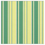 [ Thumbnail: Beige, Yellow, and Sea Green Lines Pattern Fabric ]