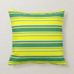 [ Thumbnail: Beige, Yellow, and Sea Green Lines Pattern Pillow ]