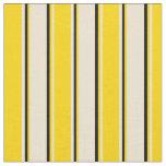 [ Thumbnail: Beige, Yellow & Black Stripes Pattern Fabric ]