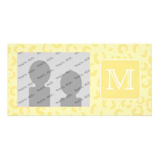 Beige Yellow Leopard Print. Custom Monogram. Card