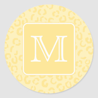 Beige Yellow Leopard Print. Custom Monogram. Classic Round Sticker