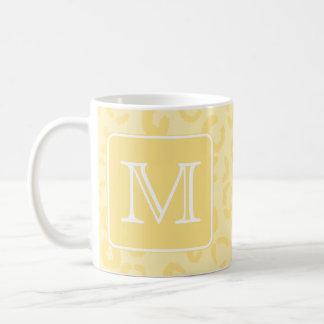 Beige Yellow Leopard Print. Custom Monogram. Classic White Coffee Mug
