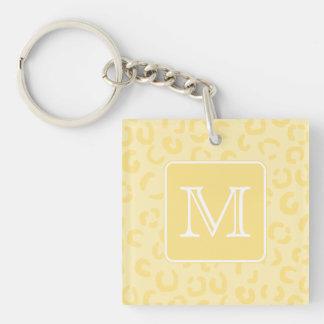 Beige Yellow Leopard Print. Custom Monogram. Acrylic Keychains
